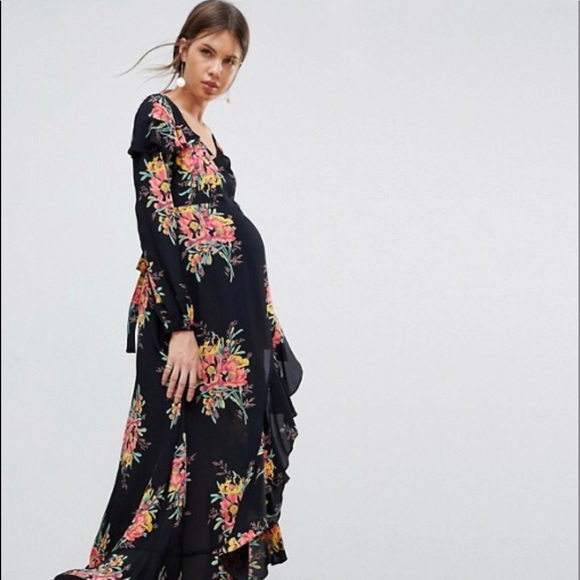 7f2bc16dee811 ASOS Maternity Dresses | Long Sleeve Floral Wrap Maxi Dress | Poshmark